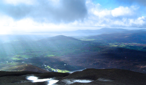 From Binnian across Silent Valley out to Carlingford looking over Aughrim Hill